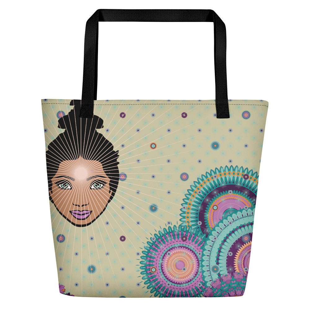 Vibrant Shopper by MOKSHAMAN® in greige & lilac