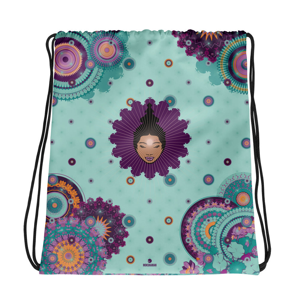 Vibrant Drawstring bag by MOKSHAMAN® in mint & darkmint