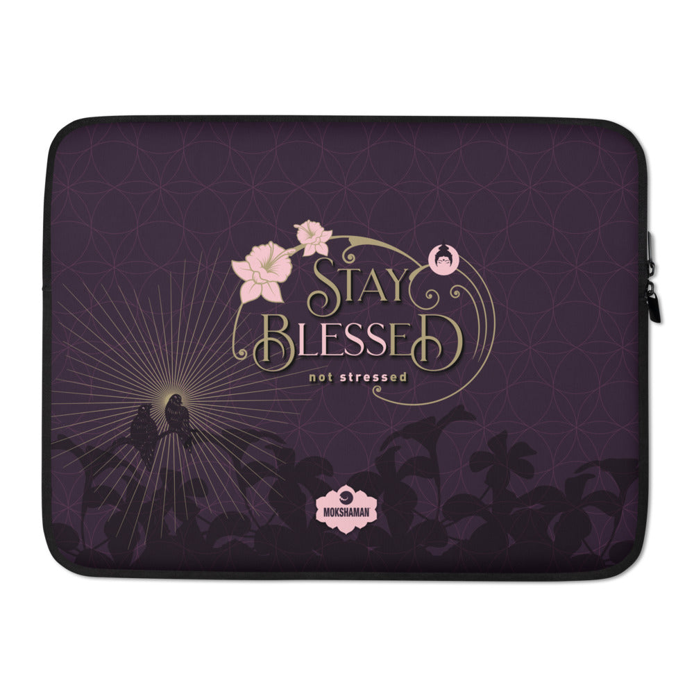 """STAY BLESSED"" Laptop Sleeve in eggplant & gold"