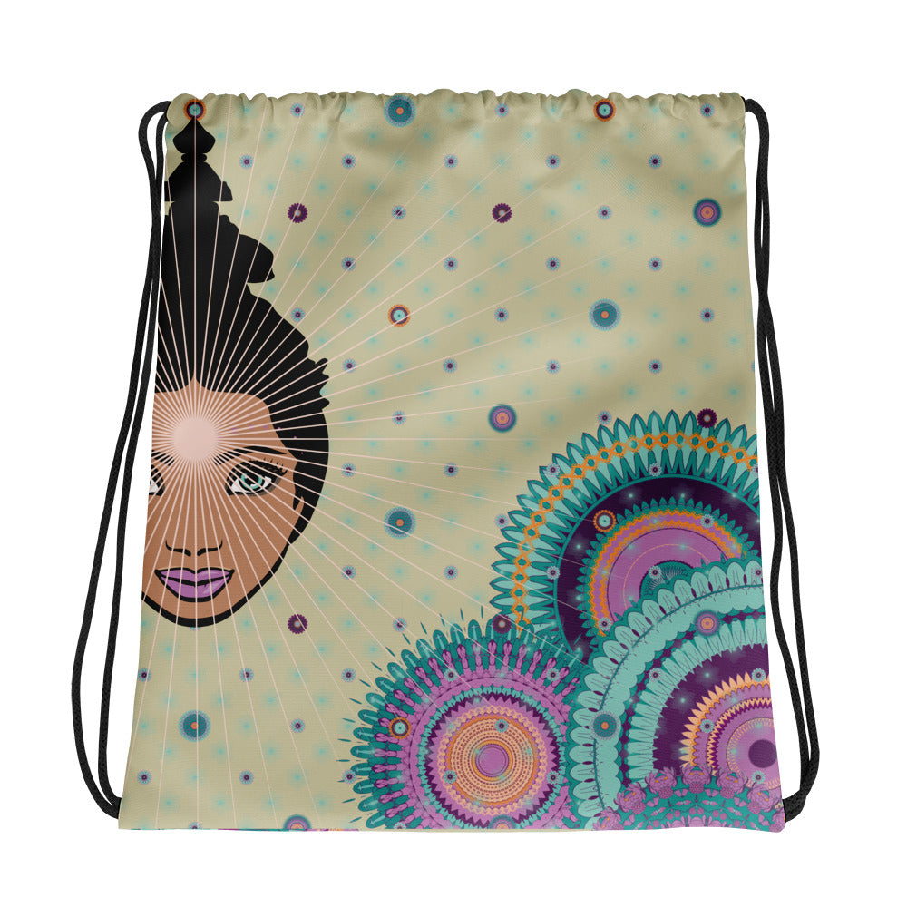 Vibrant Drawstring bag by MOKSHAMAN® in greige