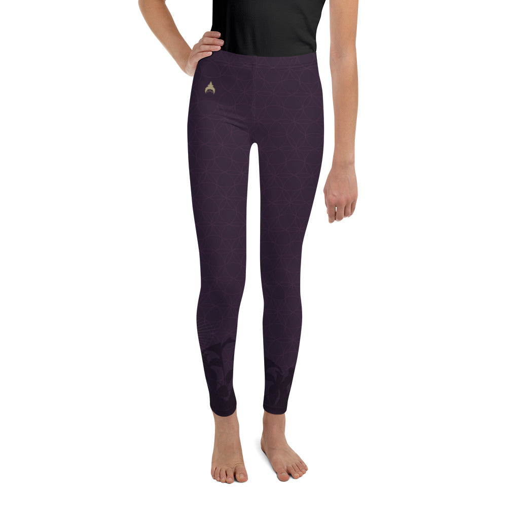 """STAY BLESSED"" Youth Leggins in eggplant"