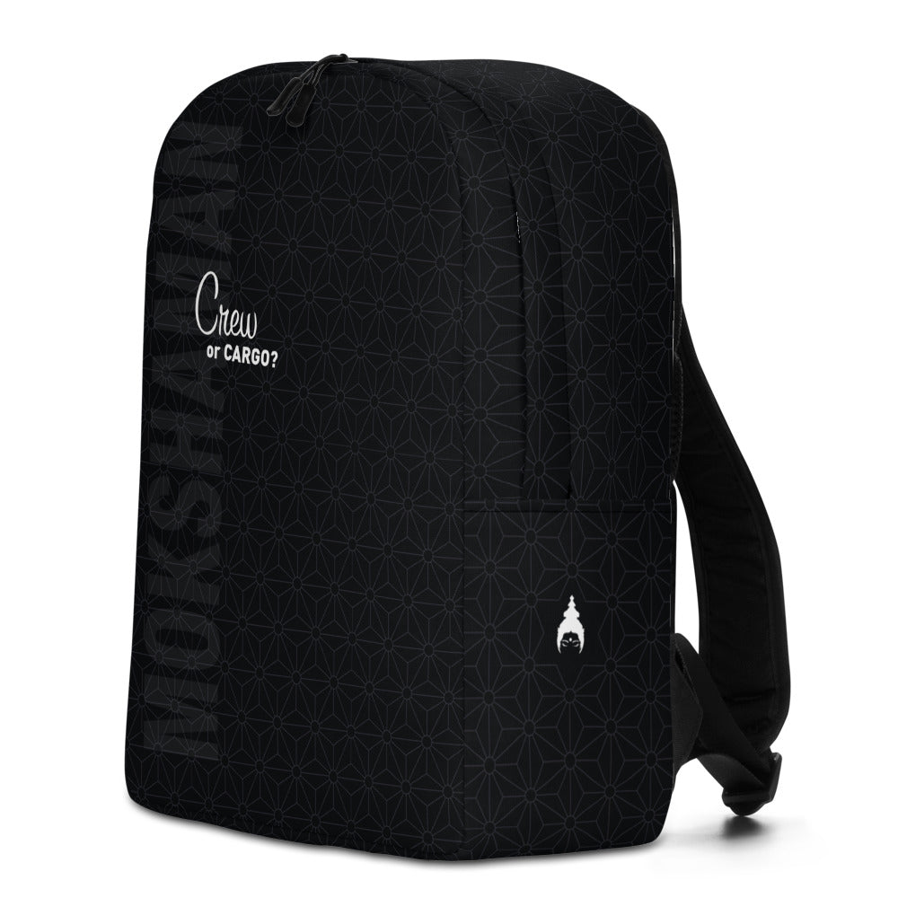 """CREW OR CARGO?"" Optimalist Backpack by MOKSHAMAN® in charcoal"