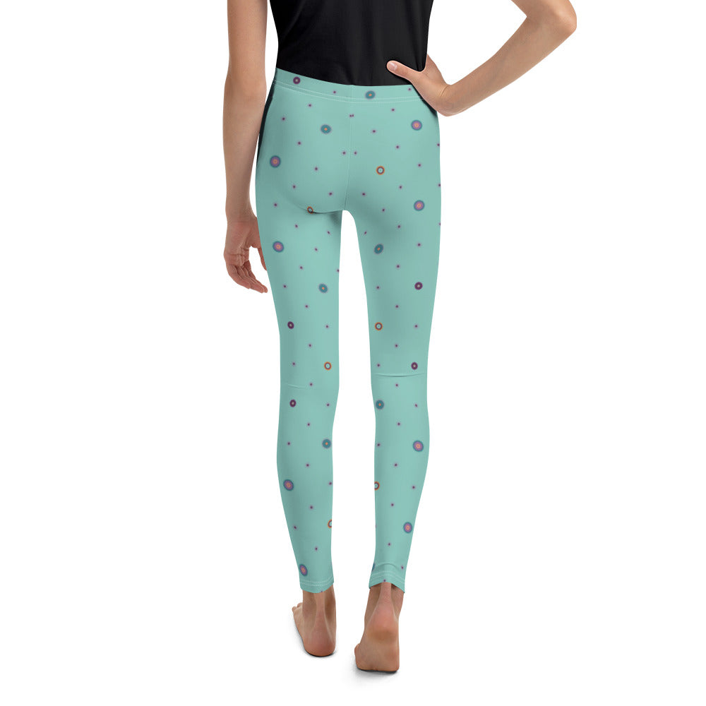 Patterned Youth Leggings by MOKSHAMAN® in light turquoise