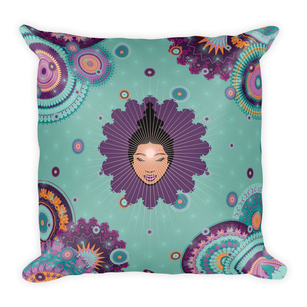 """RELAX IN MINT"" Vibrant Premium Pillow by MOKSHAMAN®"