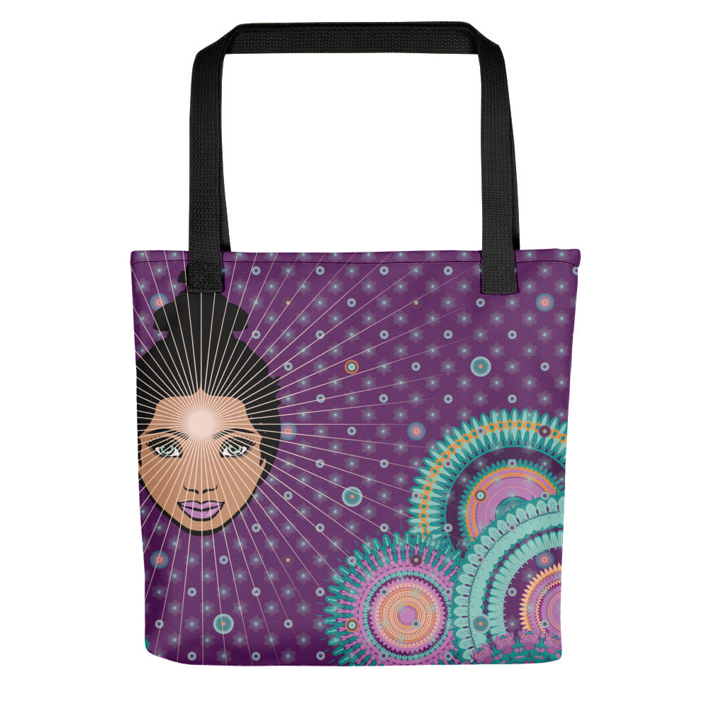 Vibrant Tote Bag by MOKSHAMAN® in lilac & lila