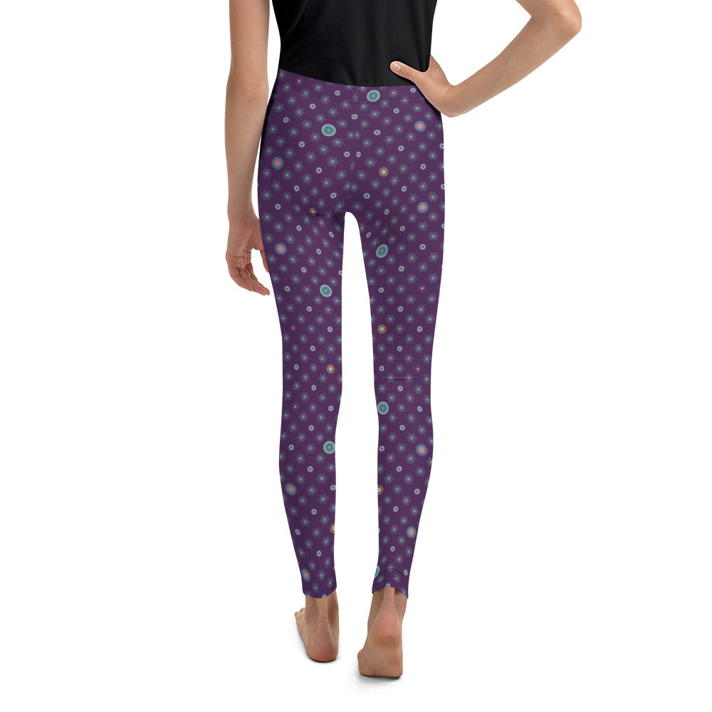 Patterned Youth Leggings by MOKSHAMAN® in violet