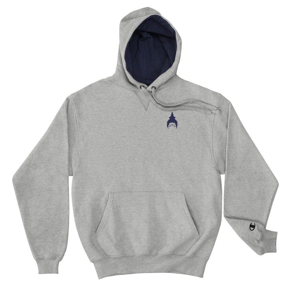 "Champion Hoodie ""MOKSHAMAMA"" by MOKSHAMAN®, embroidered navy on grey"