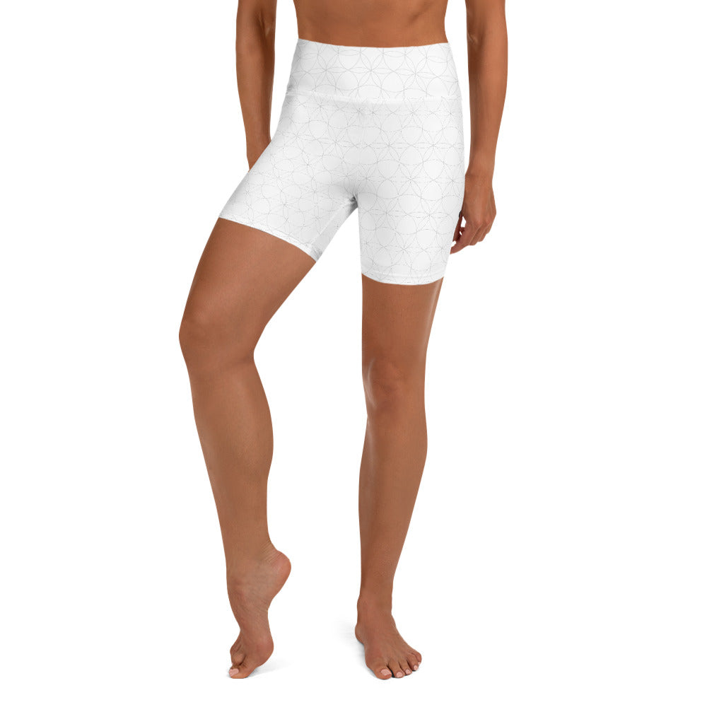 """DELIGHT"" Yoga Shorts by MOKSHAMAN® in white"