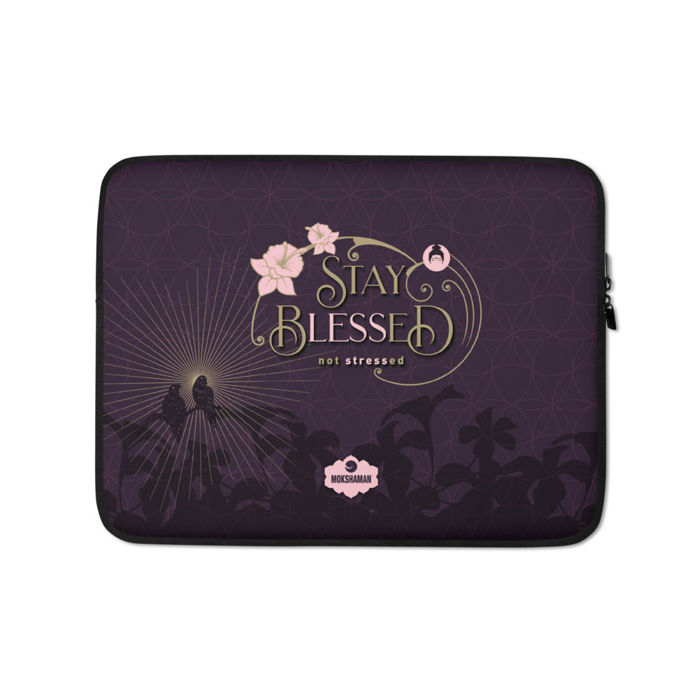 """Stay Blessed"" Laptop Sleeve by MOSKHAMAN® in eggplant & gold"