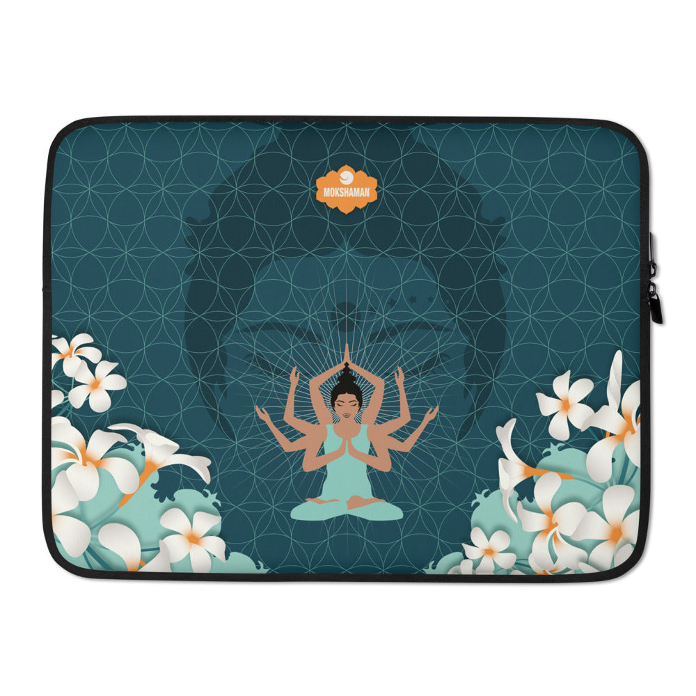 """Stay centered"" Laptop Sleeve by MOKSHAMAN® in petrol"