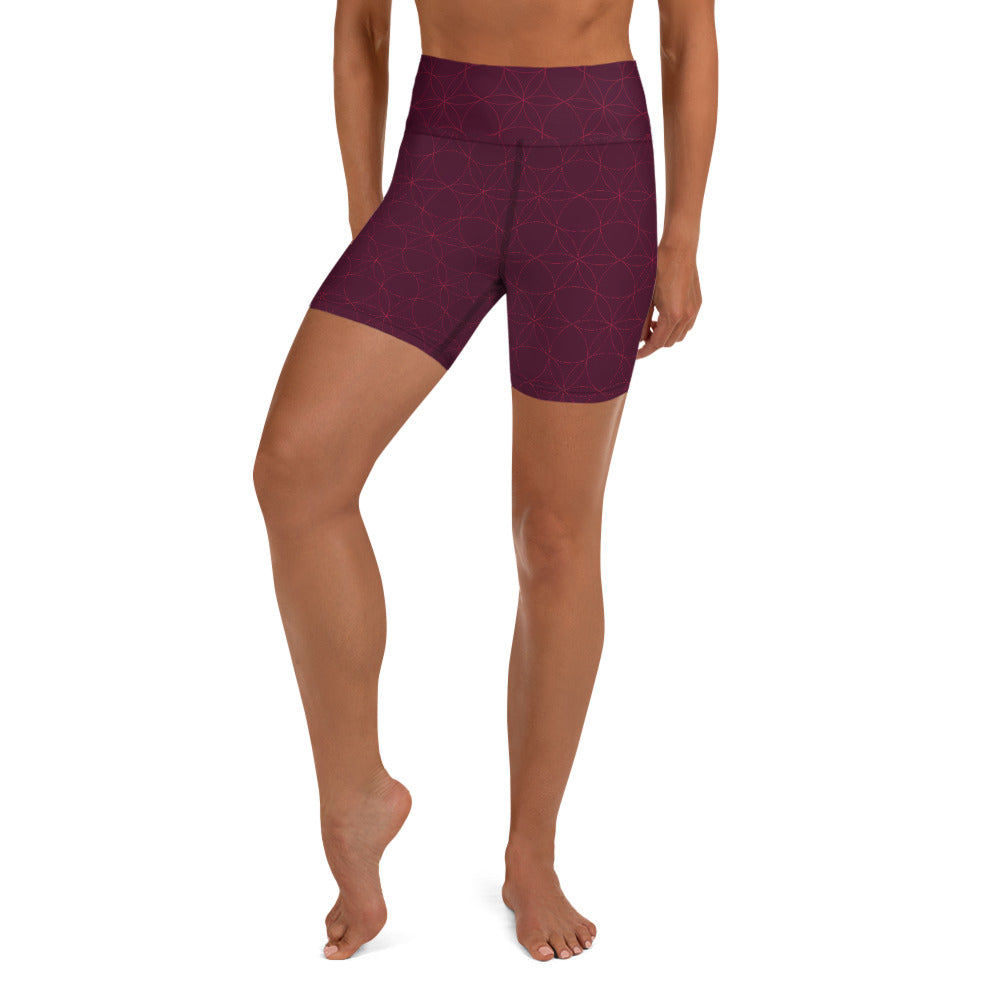 """OMAJA"" Yoga Shorts by MOKSHAMAN® in burgundy"