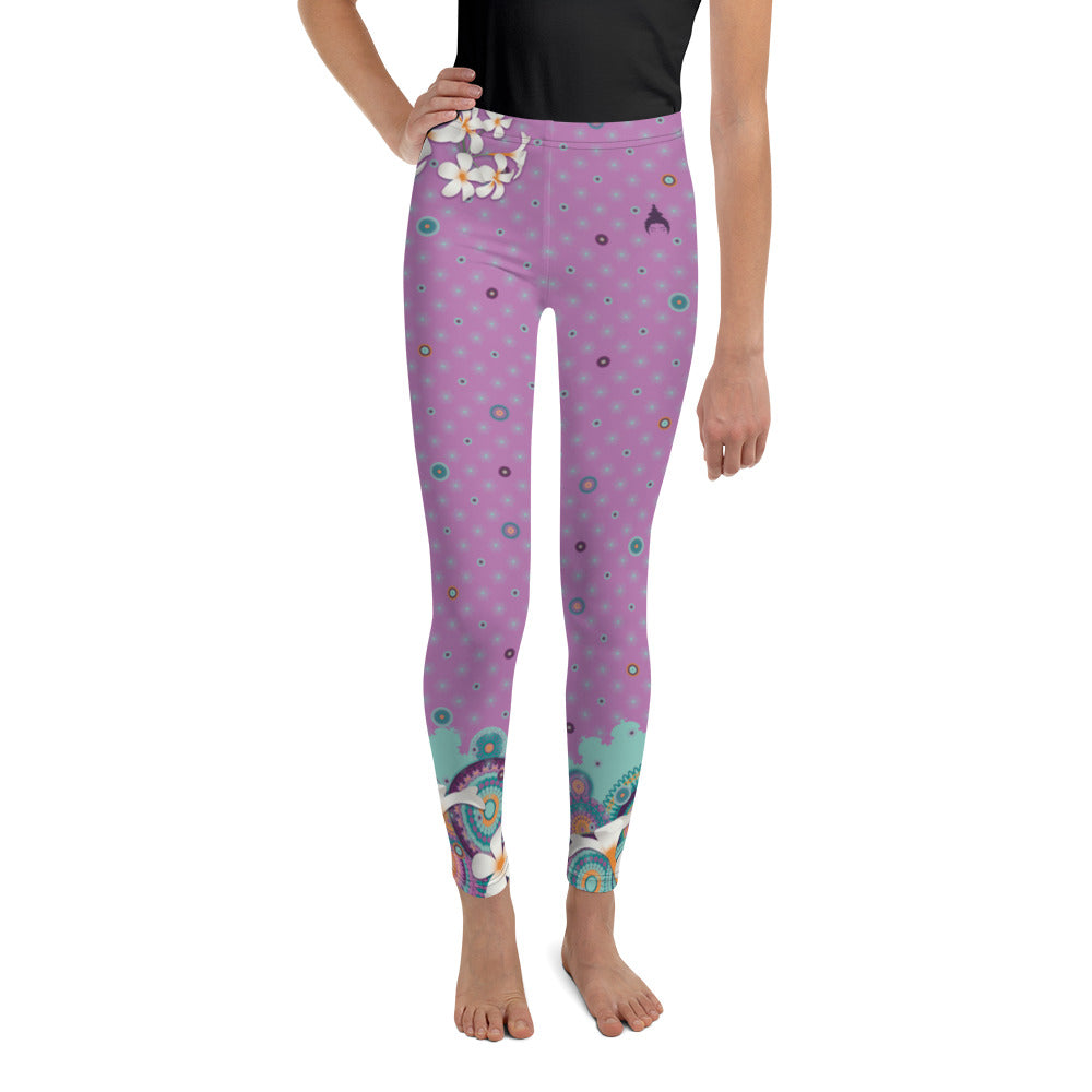 Youth Leggings by MOKSHAMAN® in lilac, hip flower