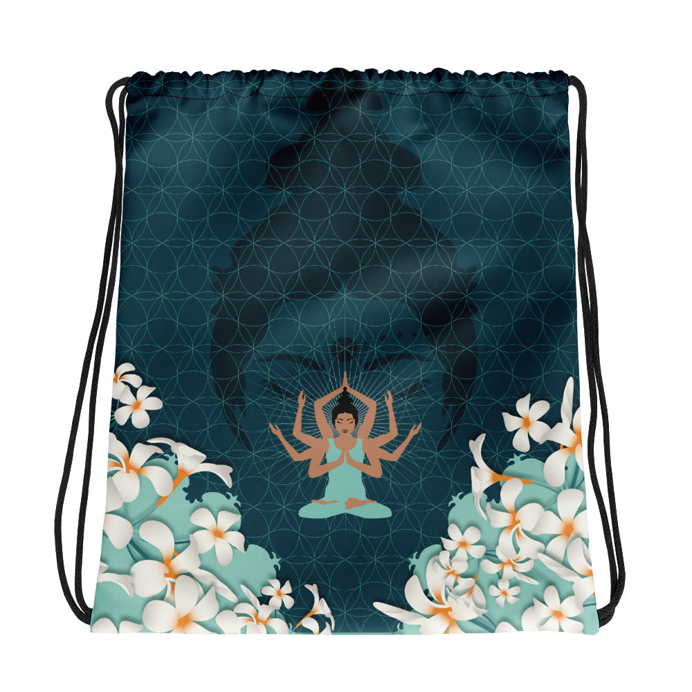 Vibrant Drawstring bag by MOKSHAMAN® in petrol