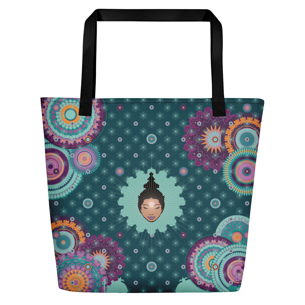 """EVI"" Shopper in Petrol & Mint"
