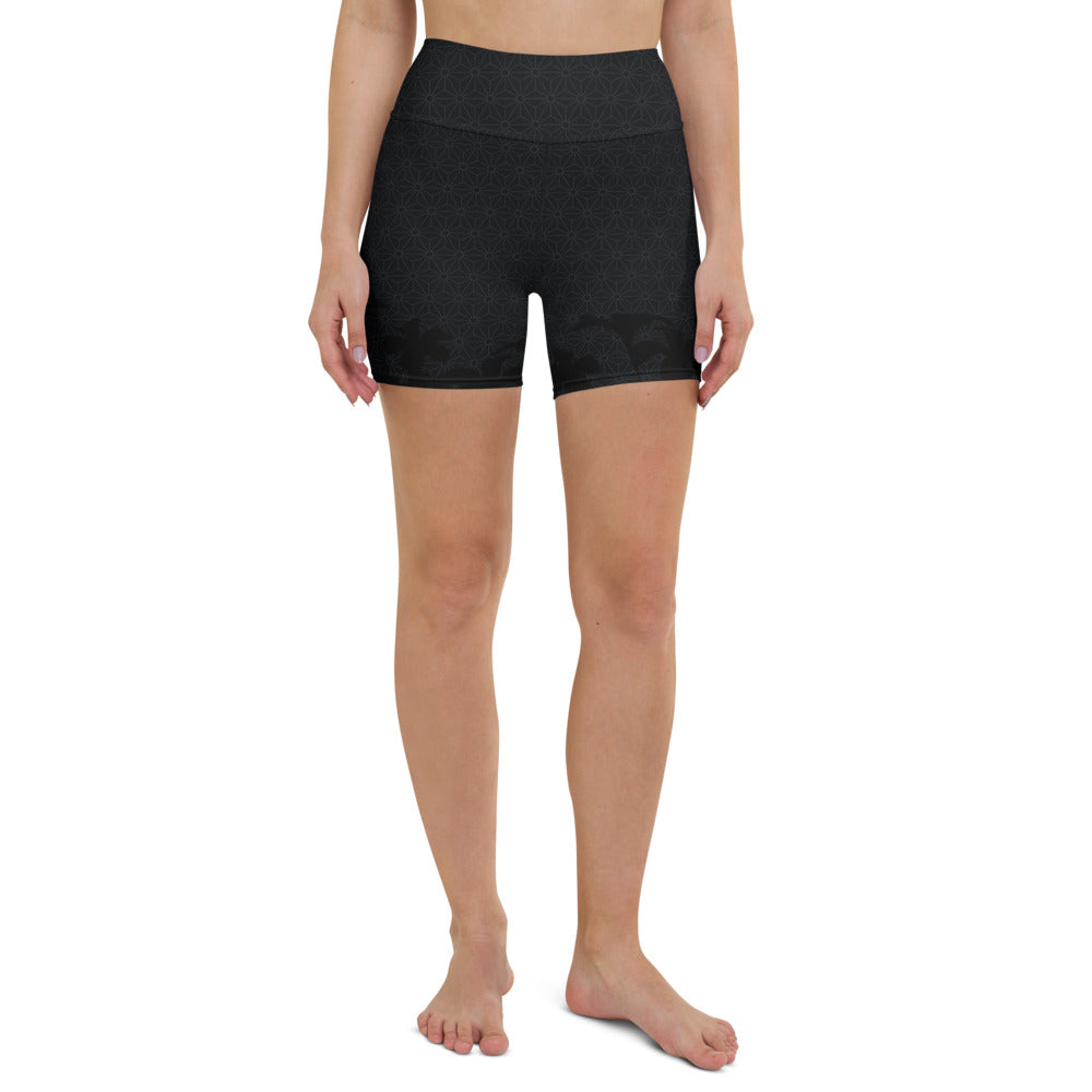 """AWARENESS"" Yoga Shorts by MOKSHAMAN® in dark shades"