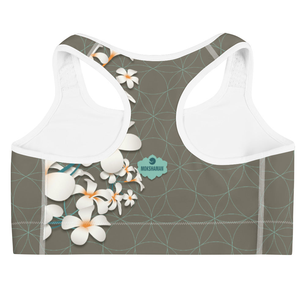 """KYRA"" Sports bra in khaki & mint"
