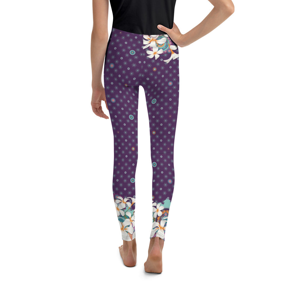 Youth Leggings by MOKSHAMAN® in violet, hip flower