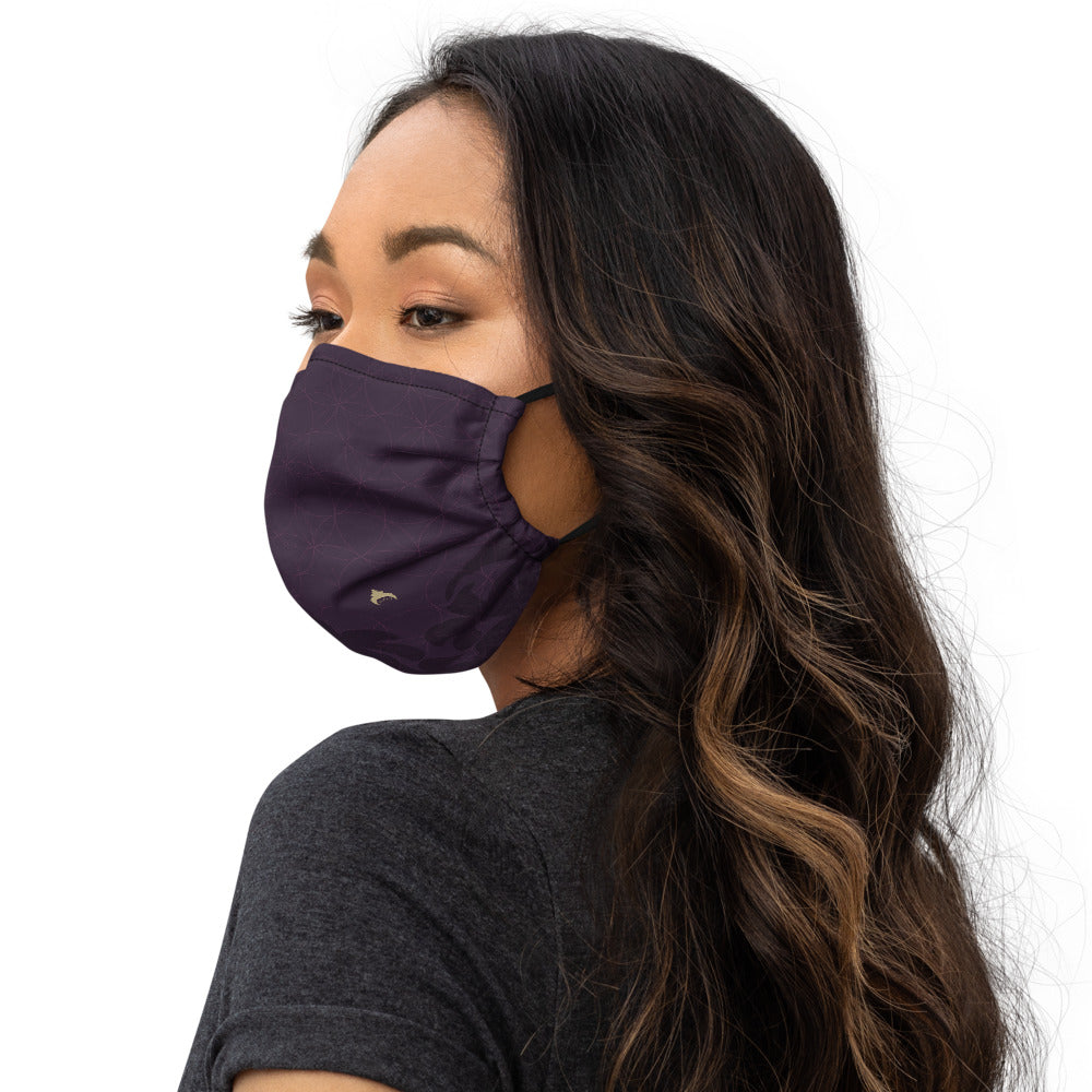 """BLESSED"" Face mask by MOKSHAMAN® in eggplant"