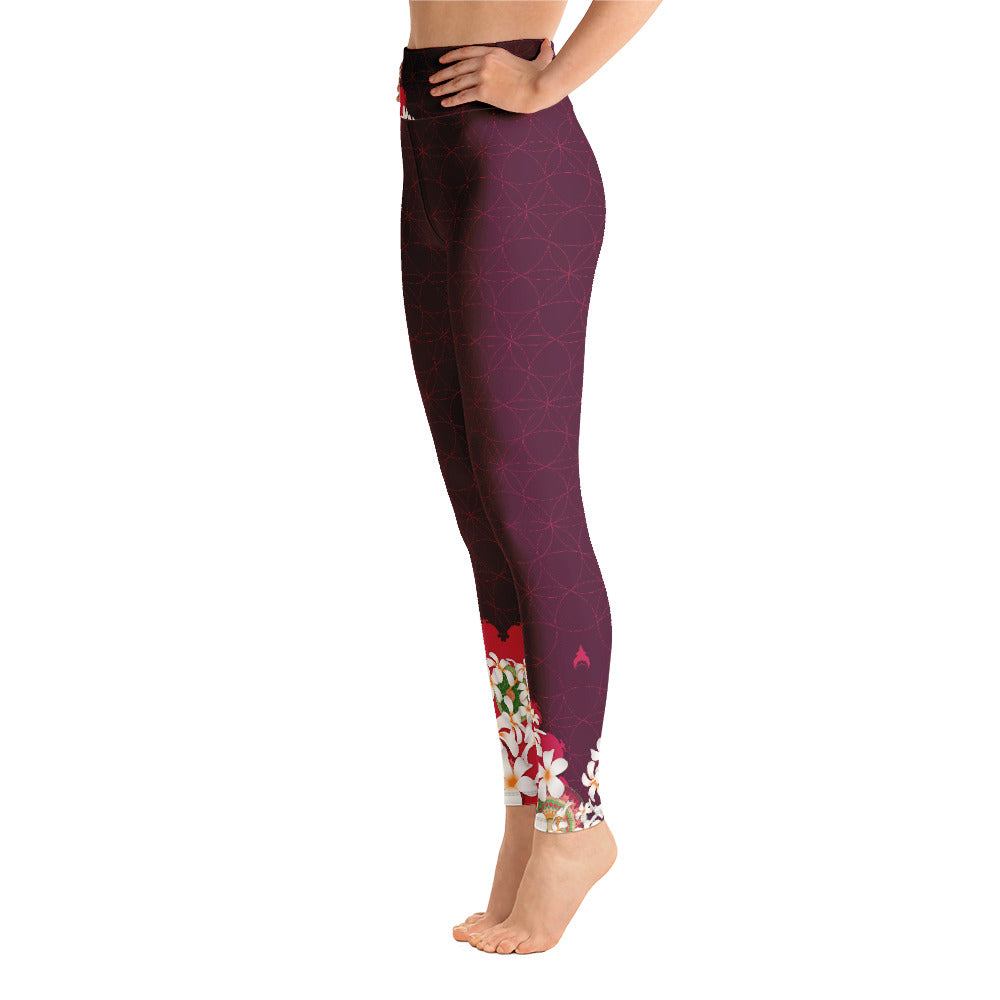 Flowered Yoga Leggings by MOKSHAMAN® in burgundy
