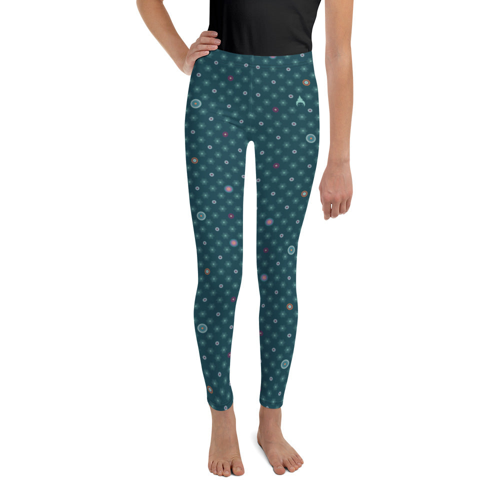 Patterned Youth Leggings by MOKSHAMAN® in petrol