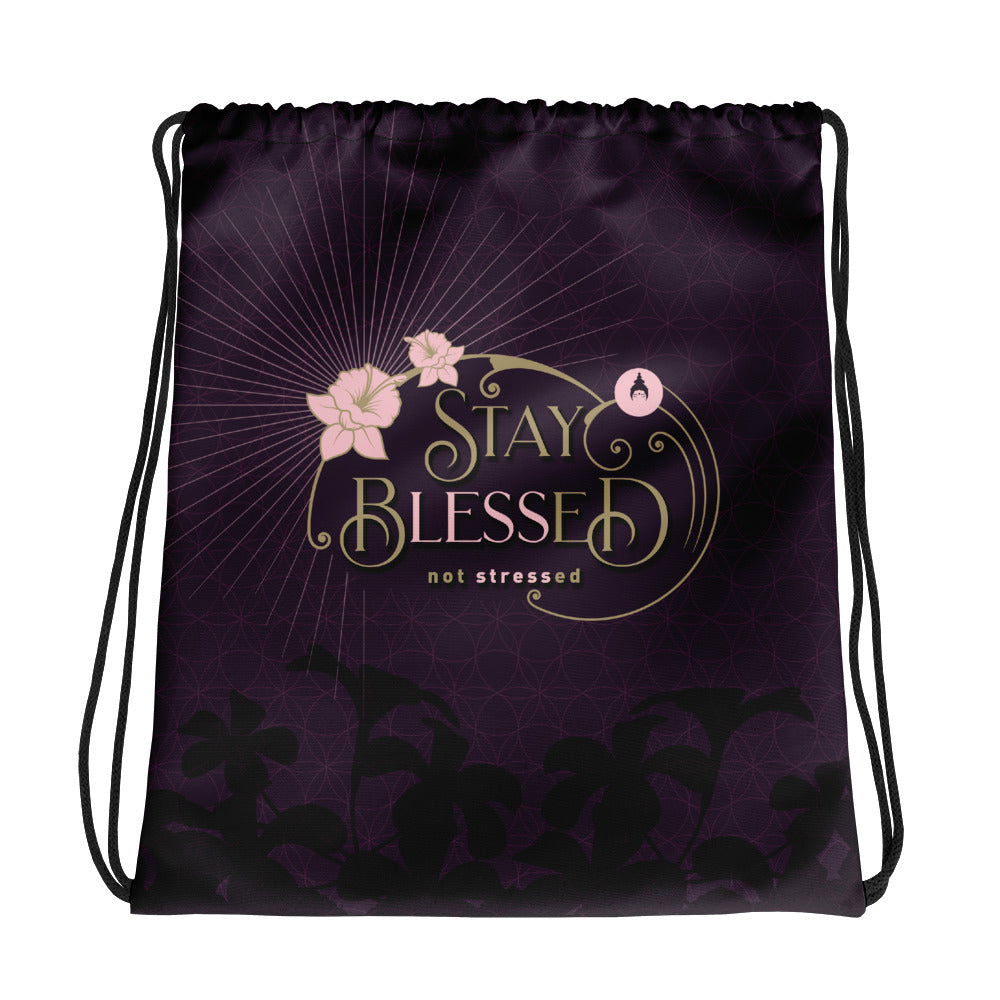 """STAY BLESSED"" Drawstring Bag in eggplant & gold"