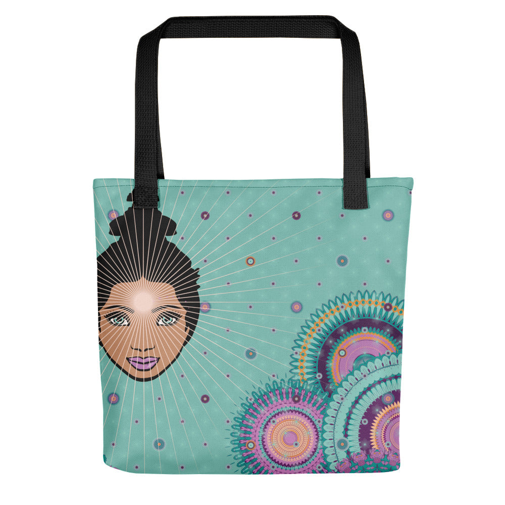Vibrant Tote Bag by MOKSHAMAN® in mint & darkmint
