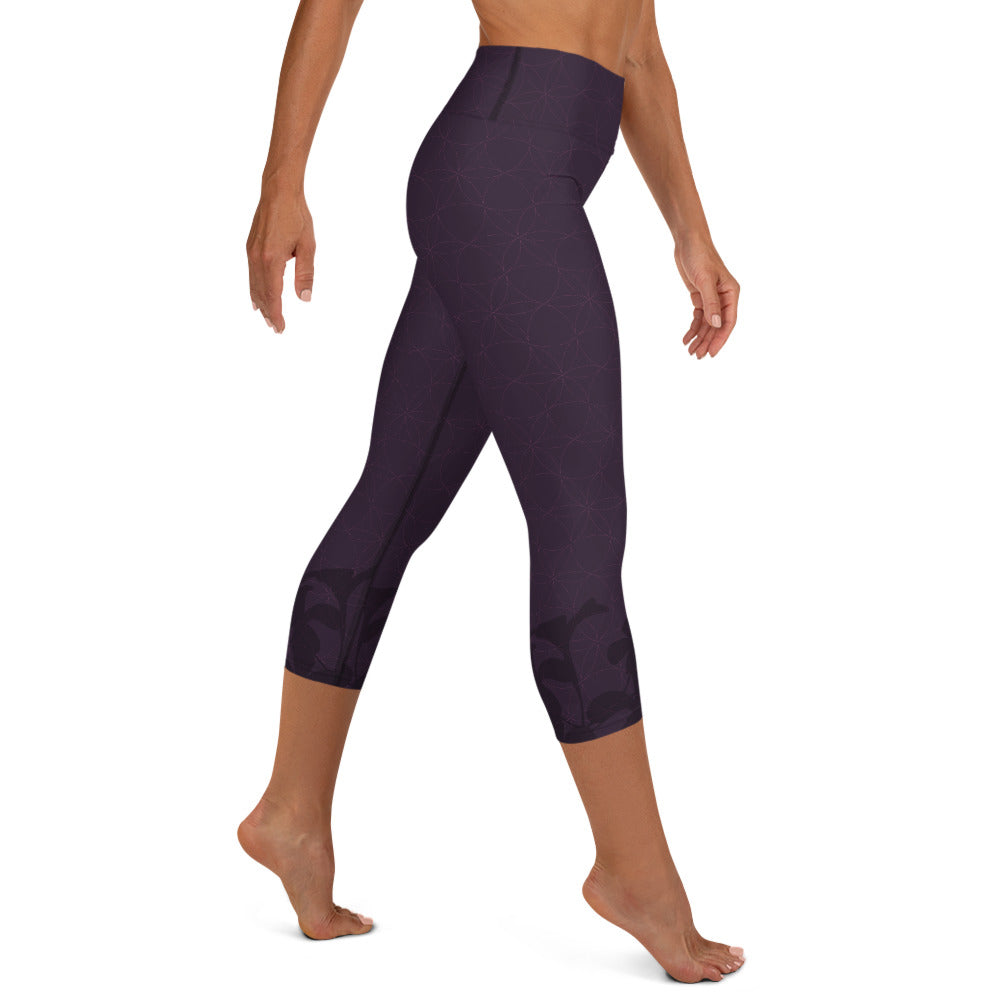 """Stay blessed"" Capri Yoga Leggins in eggplant"
