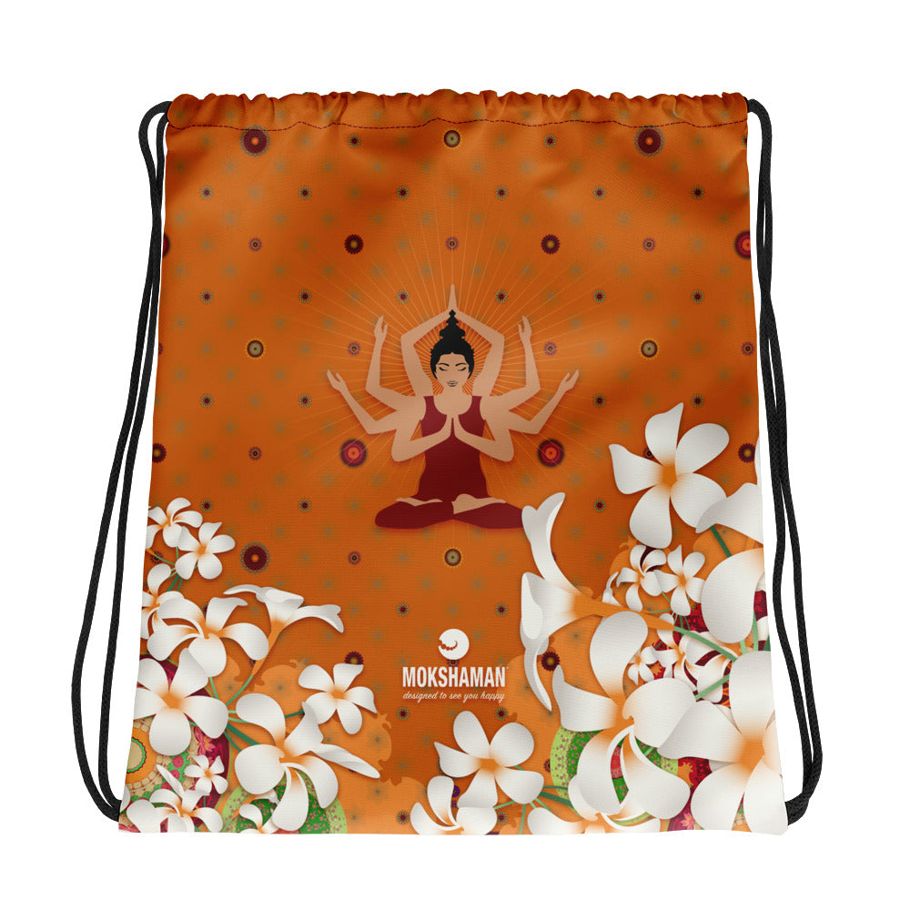 Vibrant Drawstring bag by MOKSHAMAN® in burgundy