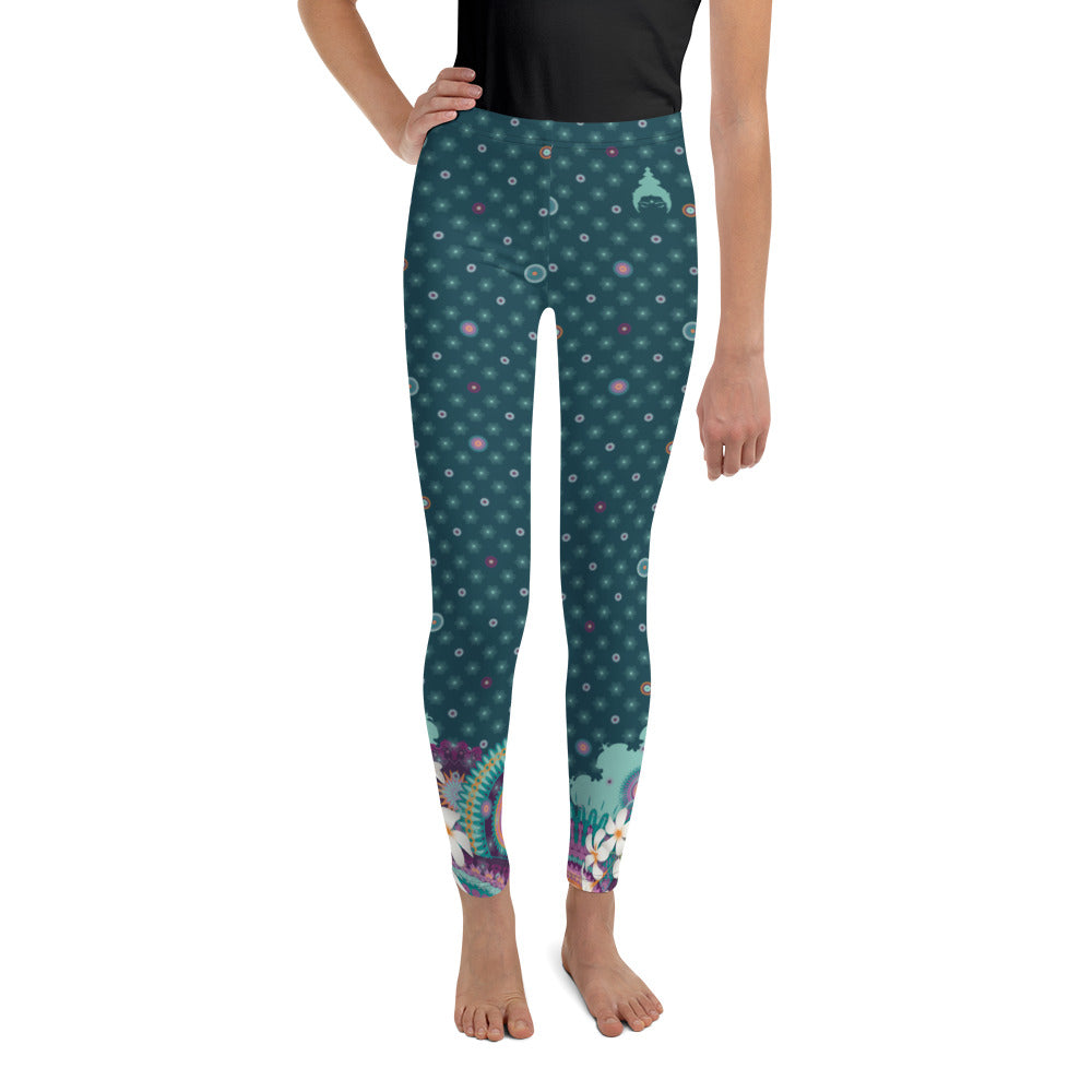 Youth Leggings by MOKSHAMAN® in petrol