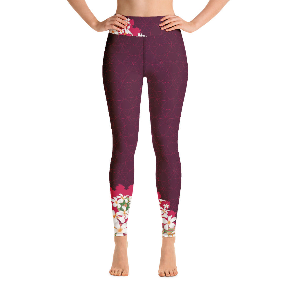 """Omajana"" Yoga Leggins in burgundy, hip flower"