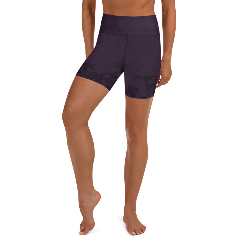 """MOOVIE"" Yoga Shorts by MOKSHAMAN® in eggplant"