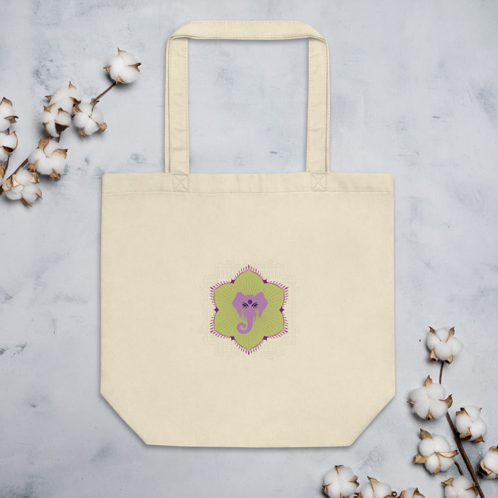 Eco Tote Bag by MOKSHAMAN® with lilac elephant