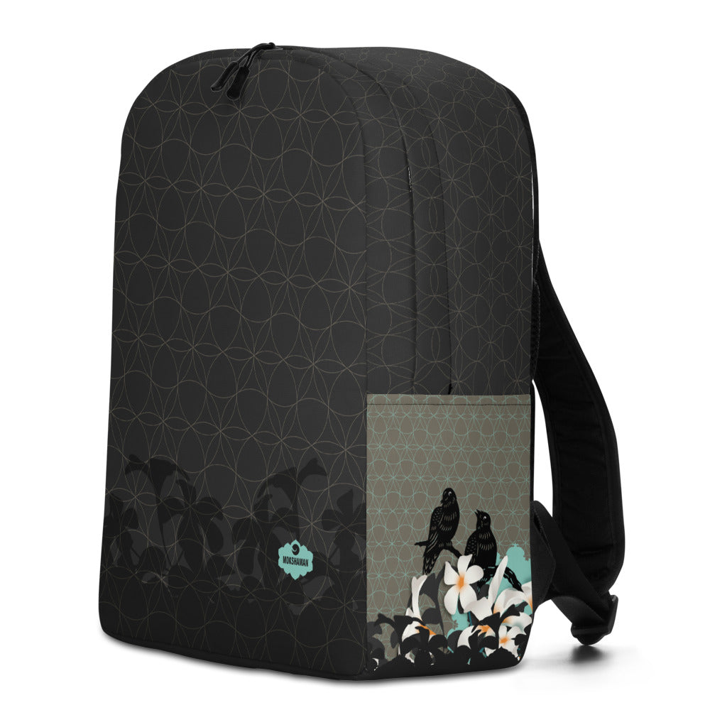 """Early Night"" Minimalist Backpack by MOKSHAMAN® in charcoal & mint"
