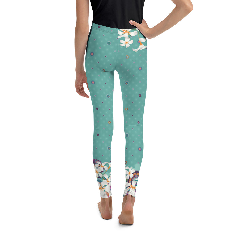 """Shima"" Youth Leggins in dark mint, hip flower"