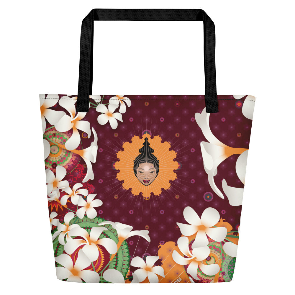 Vibrant Shopping Bag by MOKSHAMAN® in burgundy