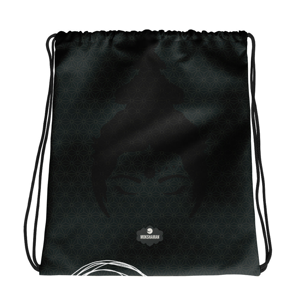 """Awareness"" Drawstring bag by MOKSHAMAN® in charcoal"