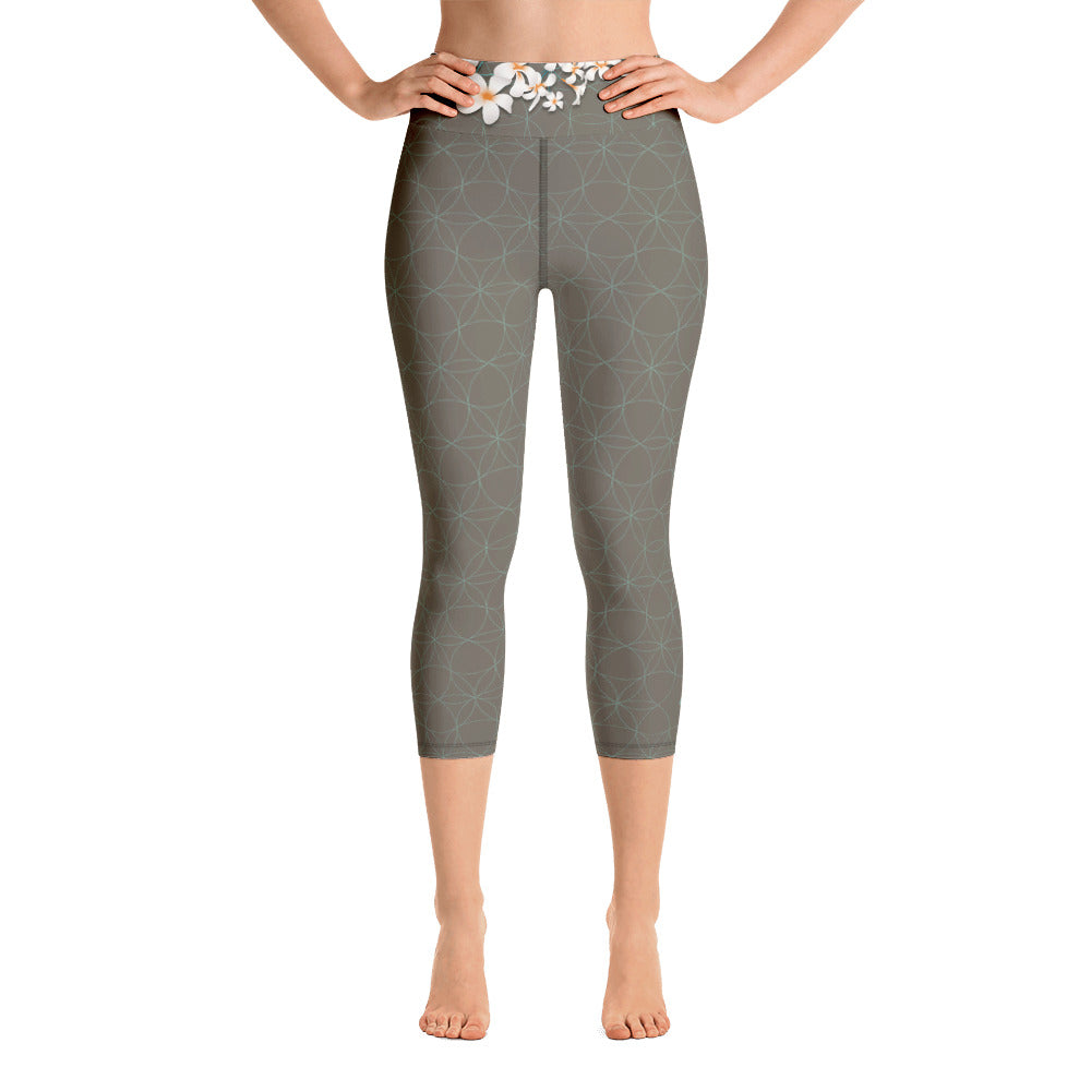 """AKYRA"" Capri Yoga Leggins in khaki & mint"