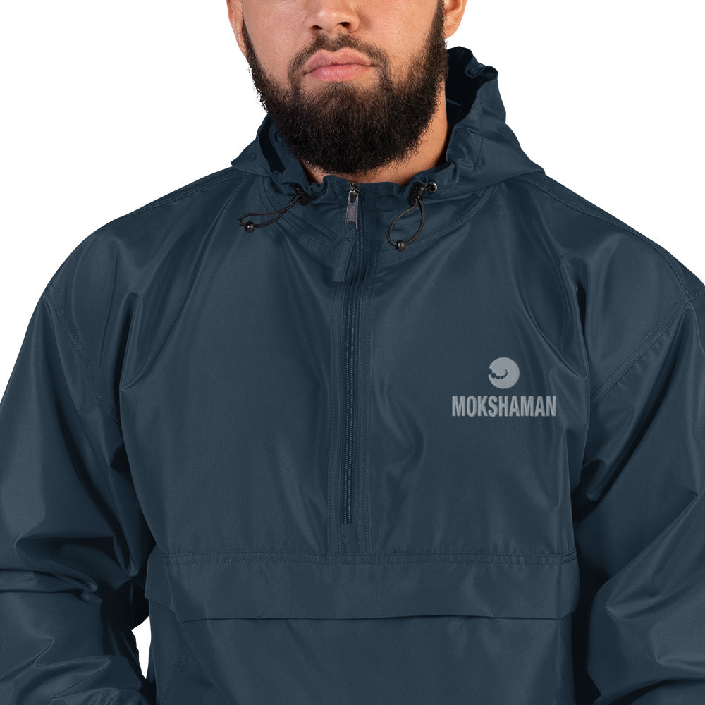 Embroidered Champion Packable Jacket by MOKSHAMAN® in petrol & grey