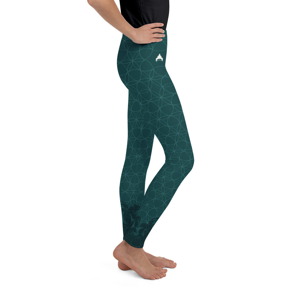 """PEPPERMINT JUNGLE"" Youth Leggins in petrol"