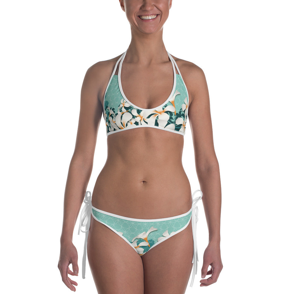 """All eyes on me"" Bikini in petrol & mint"