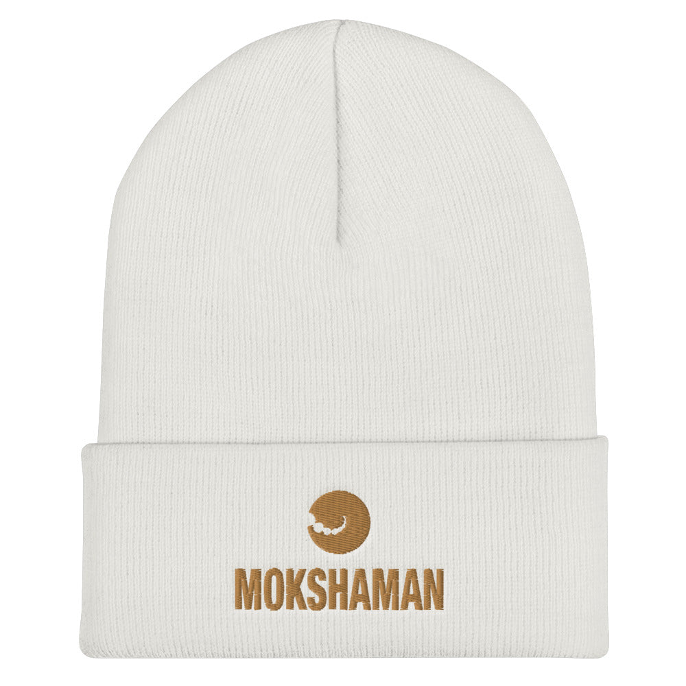 """EARWARM"" Cuffed Beanie by MOKSHAMAN® embroidered in gold"