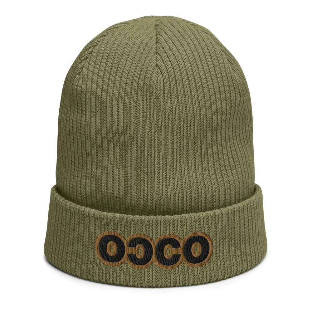 COCO's Organic ribbed beanie, embroidered in gold