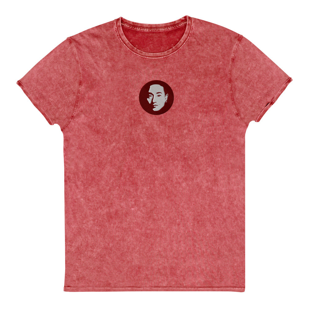 Coco's embroidered Denim T-Shirt in coral