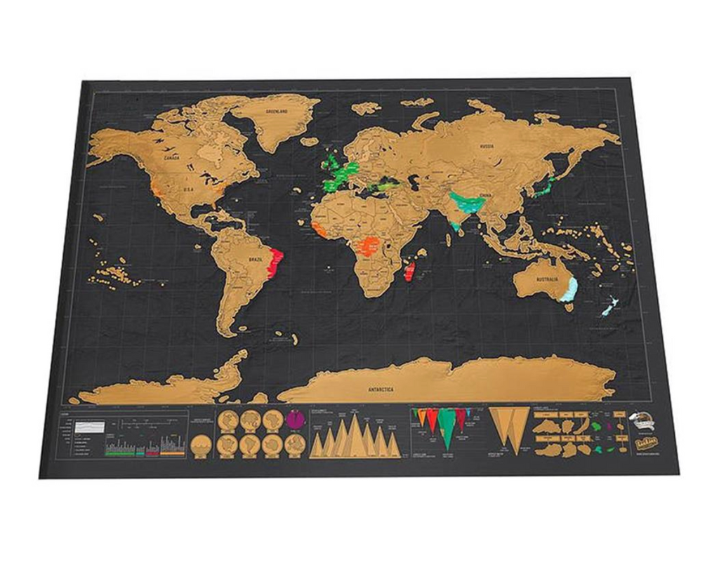 Keep track of your travels and inspire your next adventure with the Scratch Off World Map. Printed with fine paper and laminated with a gloss coating, the World Scratch Off Map works exactly like a scratch card, once the gold scratch is removed it reveals the world mapping underneath.