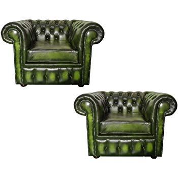 Super Toscana Collection Real Antique Green Leather Set Of 2 Club Gmtry Best Dining Table And Chair Ideas Images Gmtryco
