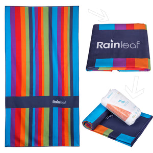 Rainleaf Microfiber Rainbow Towel. Perfect Beach & Travel Towel. Fast Drying - Antibacterial - Super Absorbent - Ultra Compact. 39x 70 inches