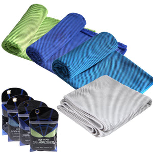 Rainleaf 4 Pack Cooling Towel Ice Towel, Soft Breathable Chilly Towel, Microfiber Towel for Yoga, Sport, Running, Gym, Workout,Camping, Fitness, Workout & More Activities