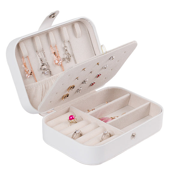 Travel Jewelry Box Organizer, Double Layer Portable Jewelry, Earring Holder and Ring Storage Case for Travel
