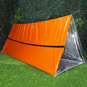 Emergency Survival Tent with Paracord, 2 Person PE Emergency Shelter Tube Tent for Camping, Hiking, Outdoor Survival Kits
