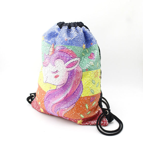 Rainleaf Unicorn Sequin Bag Drawstring Backpack Dance Bag Gym Sack for Kids